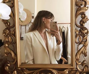 fashion, mirror, and gold image