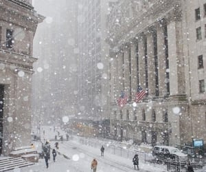 city, new york, and snow image