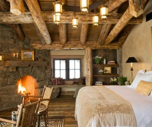 bedroom, cabin, and decor image