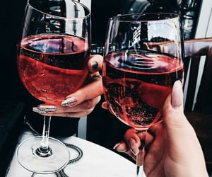 drink, nails, and wine image