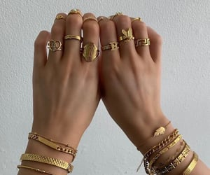 accessory, girl, and gold image