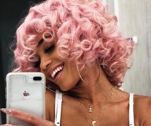hair, pink, and saweetie image