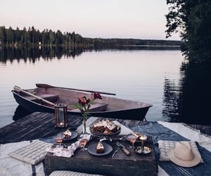 food, lake, and boat image