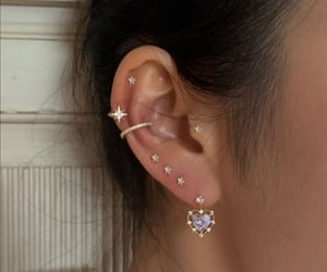 earrings, gold, and Piercings image