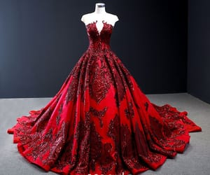 long dress, red dress, and tulle dress image
