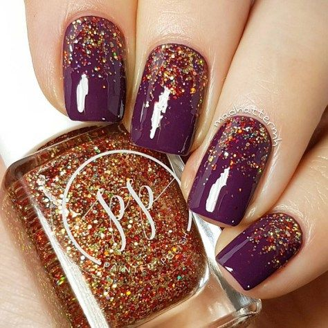 Wine Color Nail Polish Topped With Gold Shimmery Indie Nail