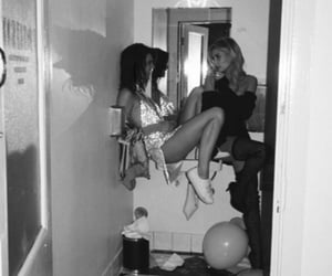 kendall jenner, hailey baldwin, and black and white image