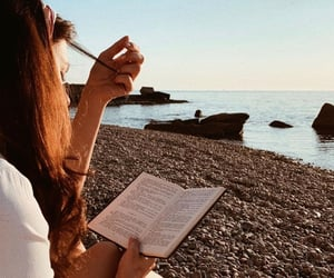 beach, reading, and style image