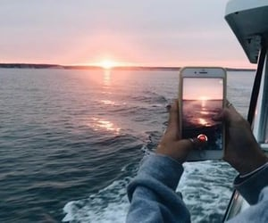 sunset, boat, and iphone image