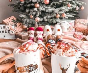 christmas, christmas tree, and hot chocolate image