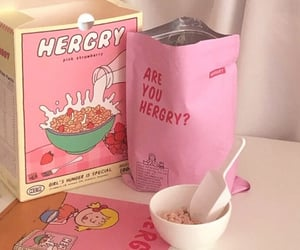 pink, cereal, and food image