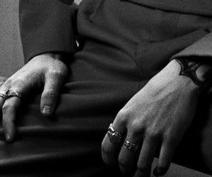 black and white, hands, and rings image