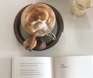 book, drink, and coffee image
