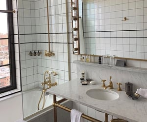 bathroom, marble, and gold image