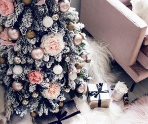 christmas tree, flowers, and snow image