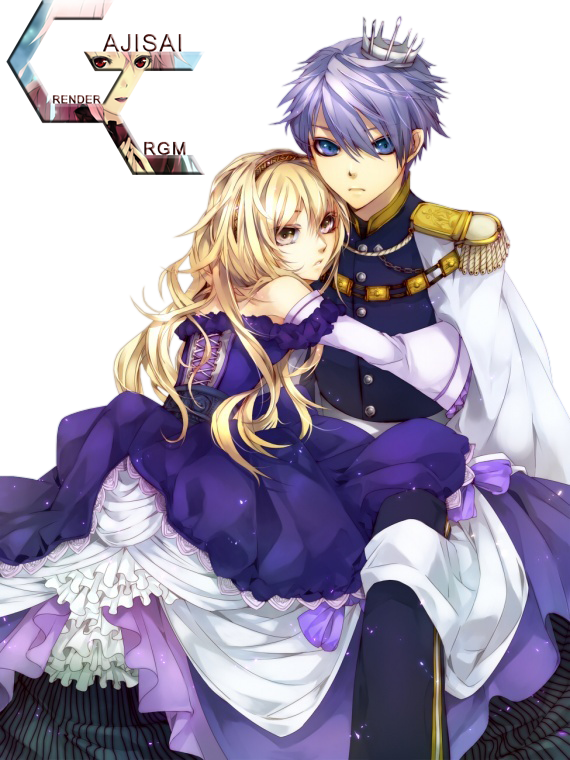 Extrêmement Render Couple Fille Blonde Robe Violette Garcon Couronne Prince  OO05