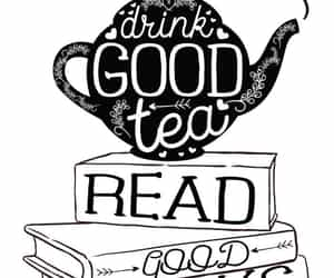 books, pattern, and tea image