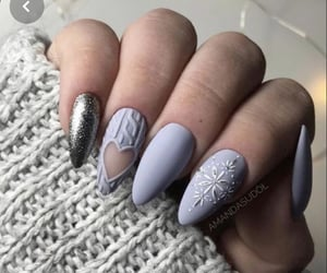 matte, nails, and snowflake image