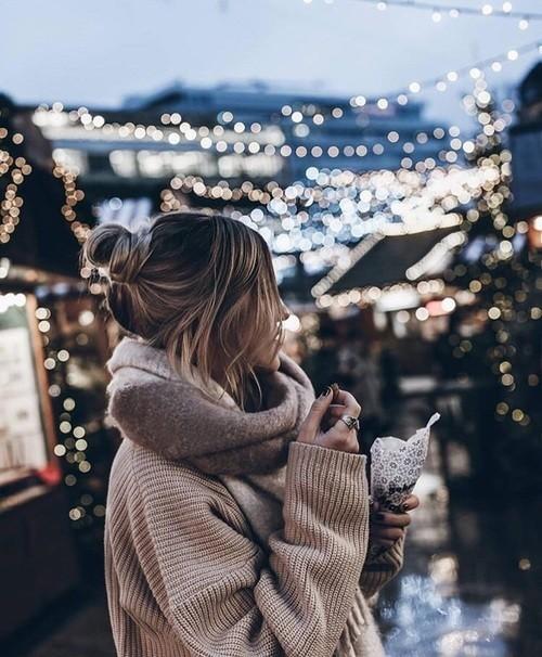 Image de light, girl, and winter