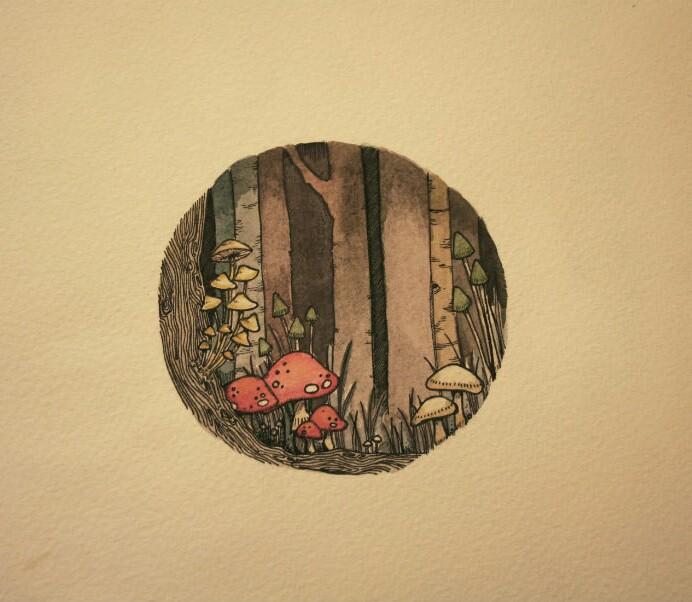 drawing and mushroom image