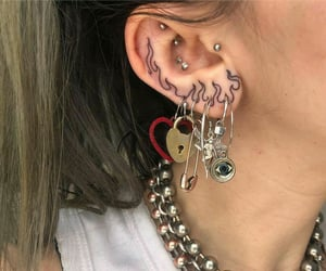 piercing, tattoo, and ear image