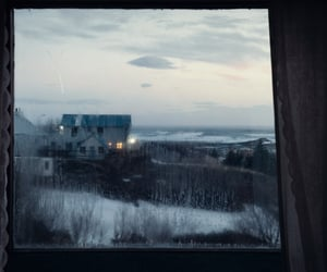 snow, window, and house image
