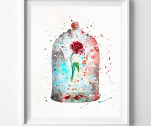 beauty and the beast, etsy, and watercolor print image