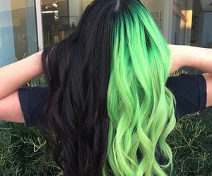 hair, black, and green image