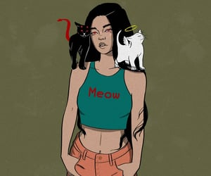 aesthetic, art, and black cat image