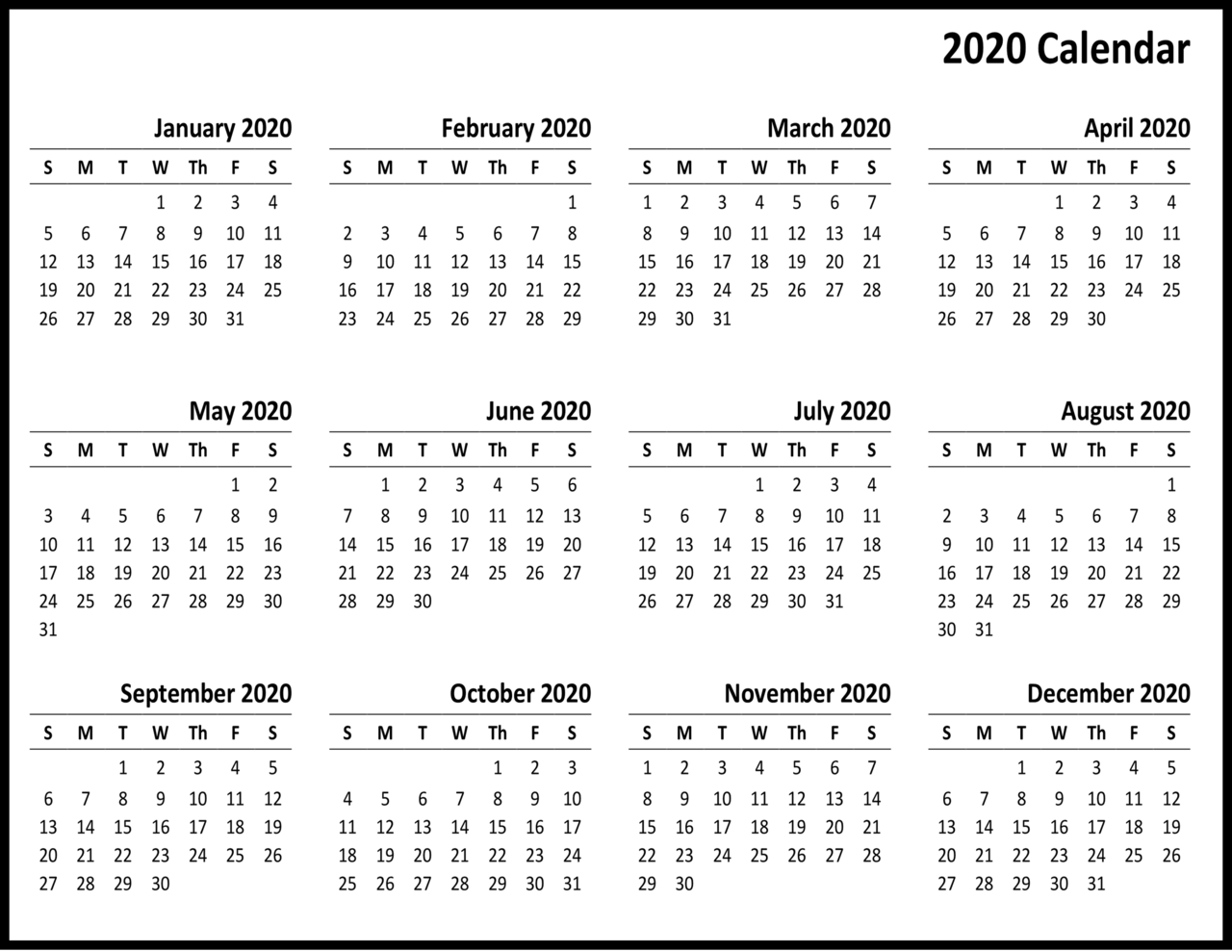 Free Printable 2020 Calendar – One Page Template