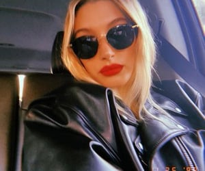 hailey bieber, red lips, and selfie image