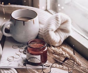 candles, sweater weather, and coffee image