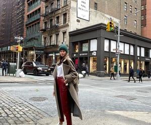 beanie, coat, and fashion image
