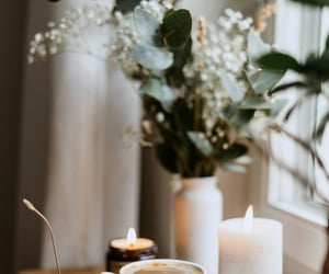 coffee, candle, and glasses image
