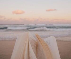 book, beach, and ocean image