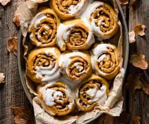 bread, cinnamon rolls, and food image