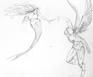 angel, mermaid, and art image