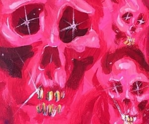 art, pink, and skull image