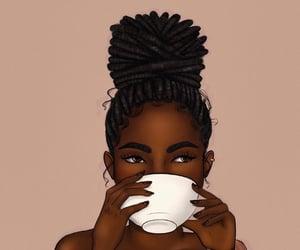 black girl, tea cup, and melanin image