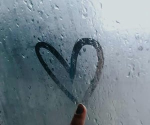rain, heart, and rainy image