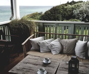 home, sea, and coffee image