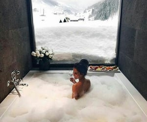 snow, bath, and winter image