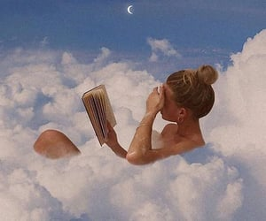 book, clouds, and reading image