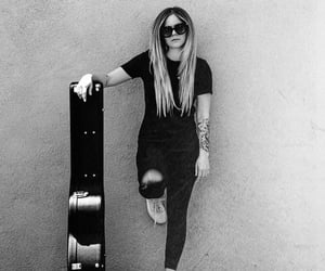 black and white and Avril Lavigne image