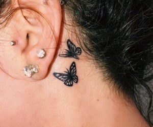 ear tattoo, inked, and ink image