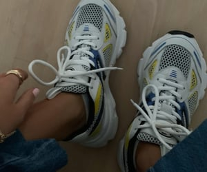 blue white and chunky sneakers yellow image