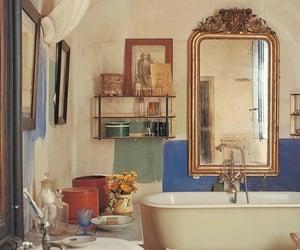 mirror, vintage, and bathroom image