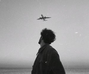 black and white, aesthetic, and airplane image