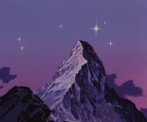 animation, mountain, and stars image