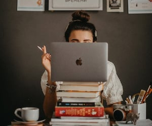 apple, books, and coffee image